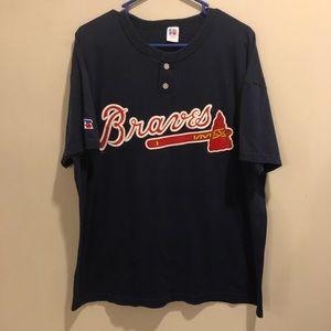 Russell Atlanta Braves t shirt navy blue baseball